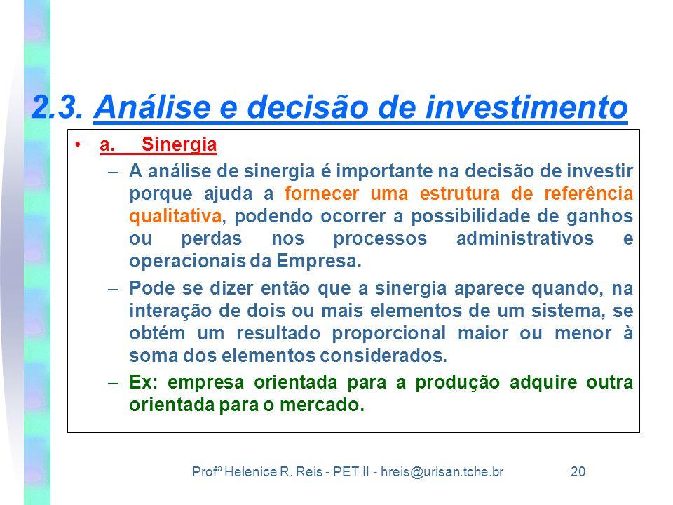 2.3. Análise e decisão de investimento