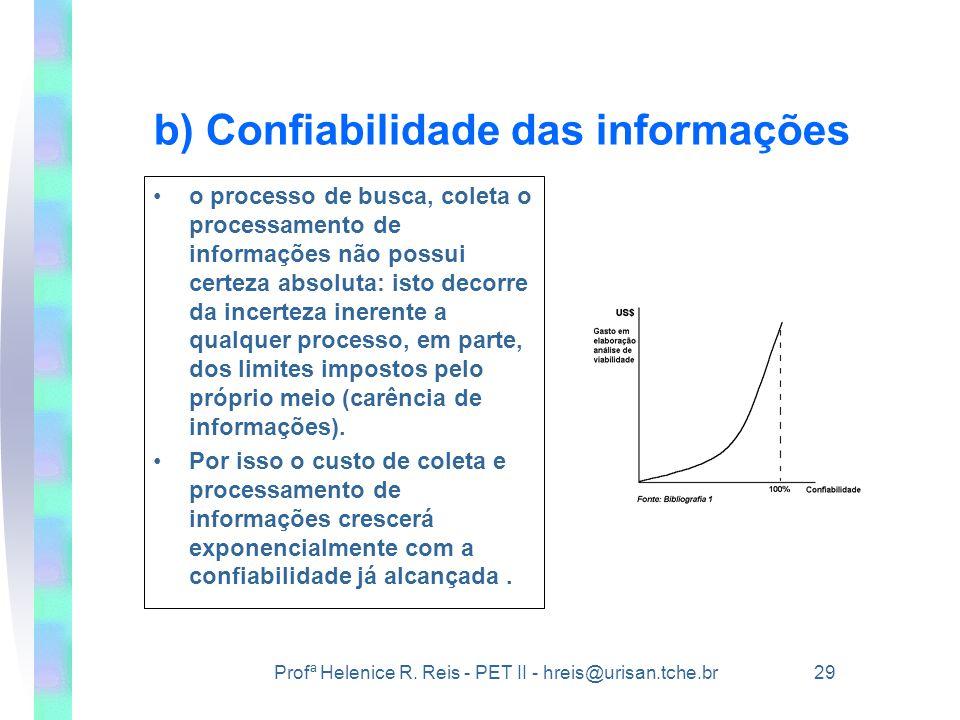 b) Confiabilidade das informações