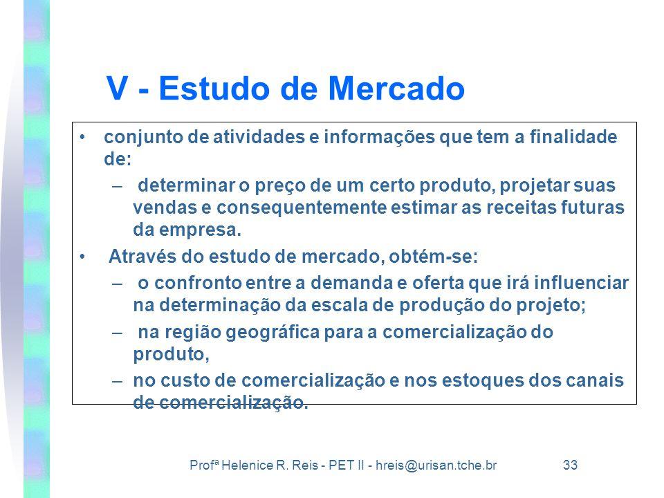 V - Estudo de Mercado conjunto de atividades e informações que tem a finalidade de: