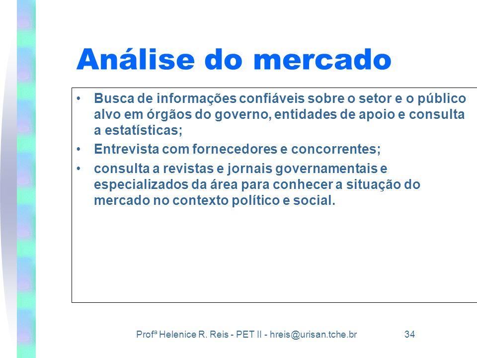 Análise do mercado Busca de informações confiáveis sobre o setor e o público alvo em órgãos do governo, entidades de apoio e consulta a estatísticas;
