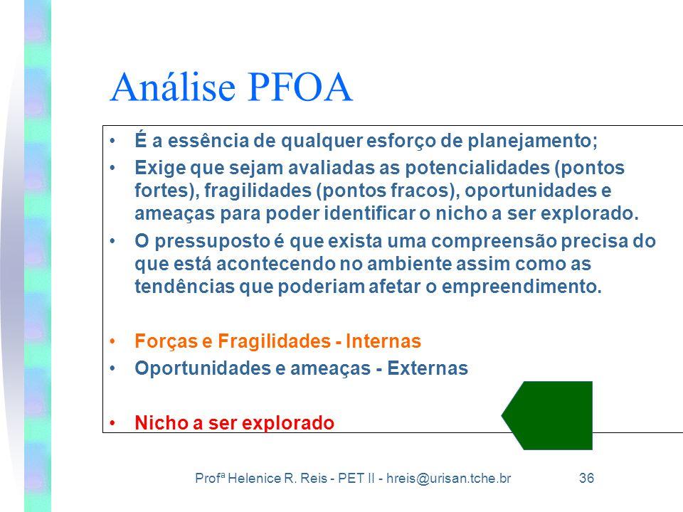 Análise PFOA É a essência de qualquer esforço de planejamento;