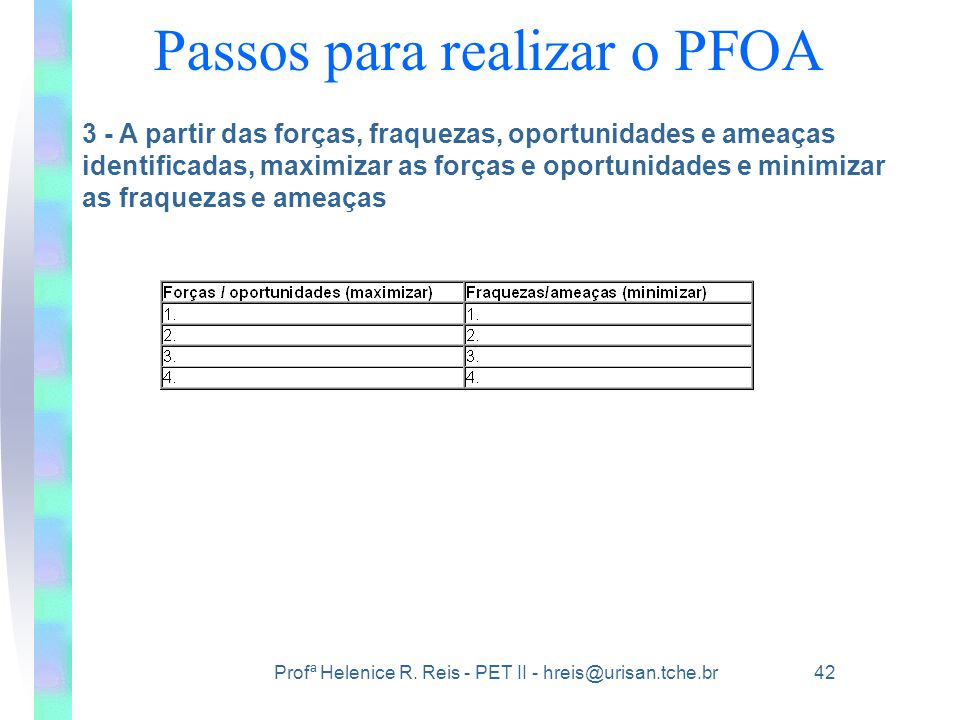 Passos para realizar o PFOA