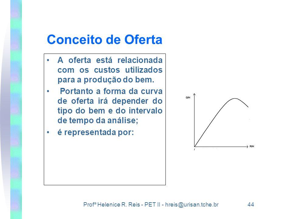 Conceito de Oferta A oferta está relacionada com os custos utilizados para a produção do bem.