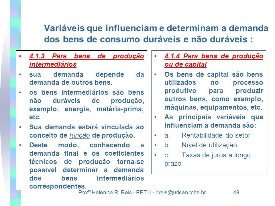 Variáveis que influenciam e determinam a demanda dos bens de consumo duráveis e näo duráveis :