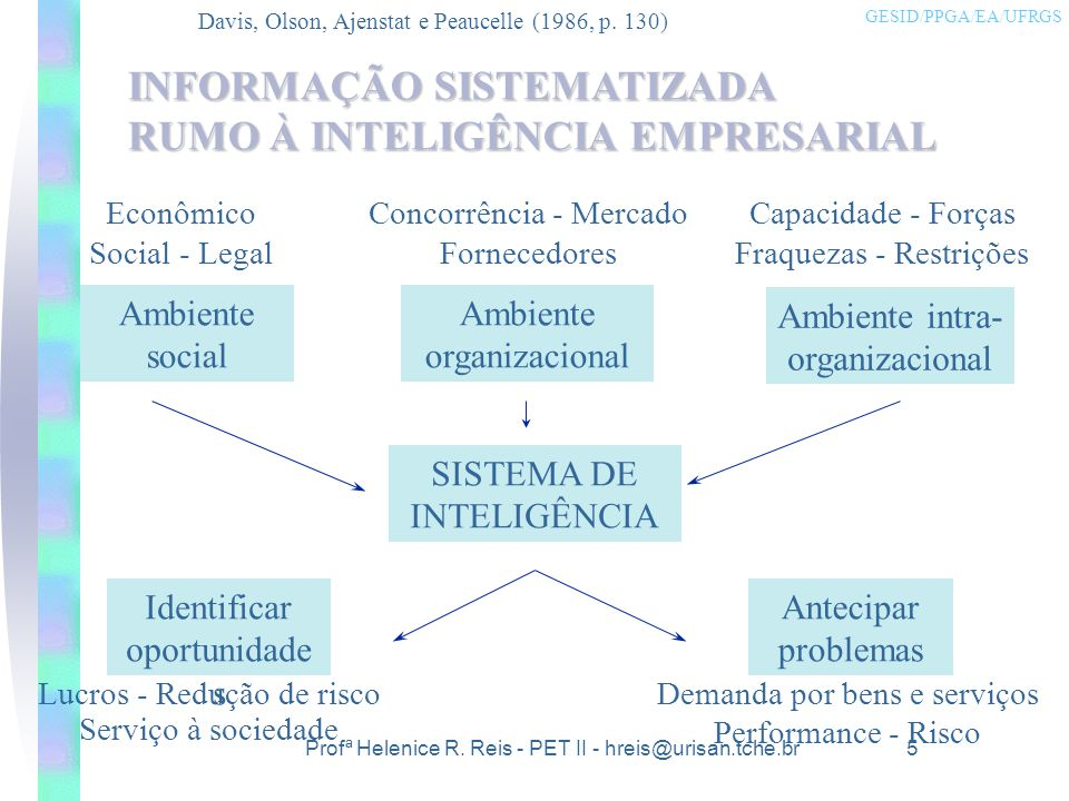 INFORMAÇÃO SISTEMATIZADA RUMO À INTELIGÊNCIA EMPRESARIAL