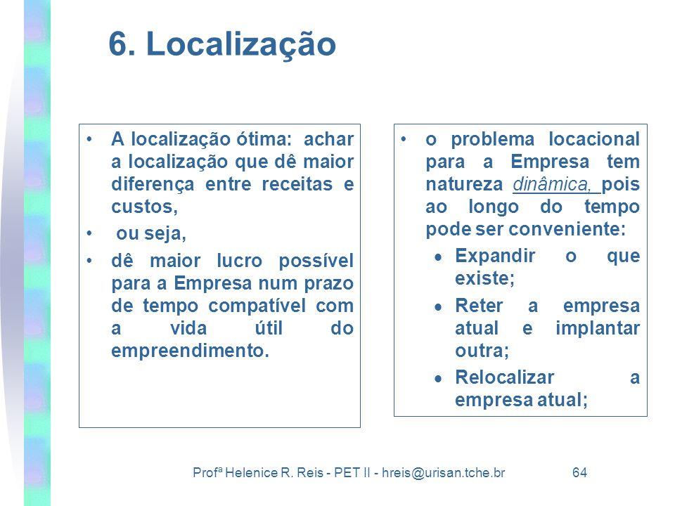 6. Localização A localização ótima: achar a localização que dê maior diferença entre receitas e custos,