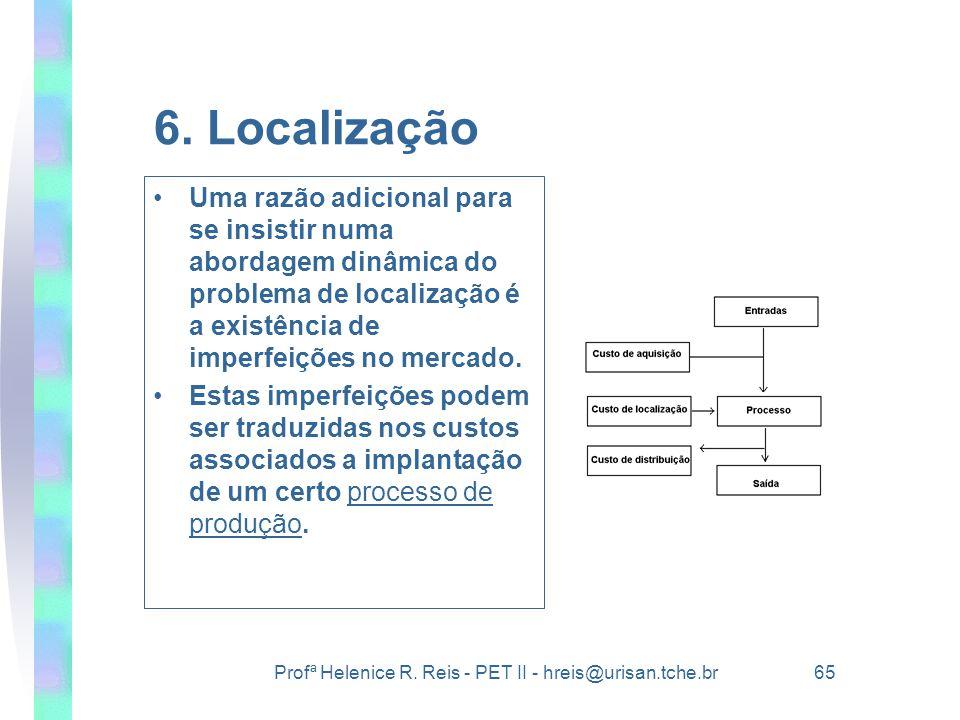 6. Localização Uma razão adicional para se insistir numa abordagem dinâmica do problema de localização é a existência de imperfeições no mercado.