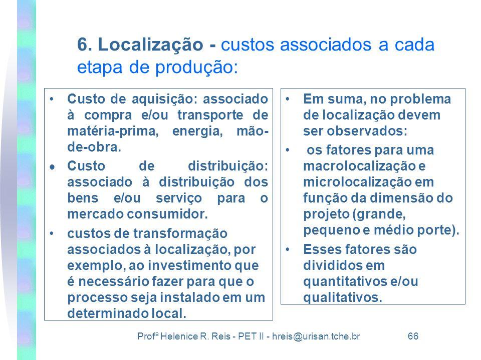6. Localização - custos associados a cada etapa de produção: