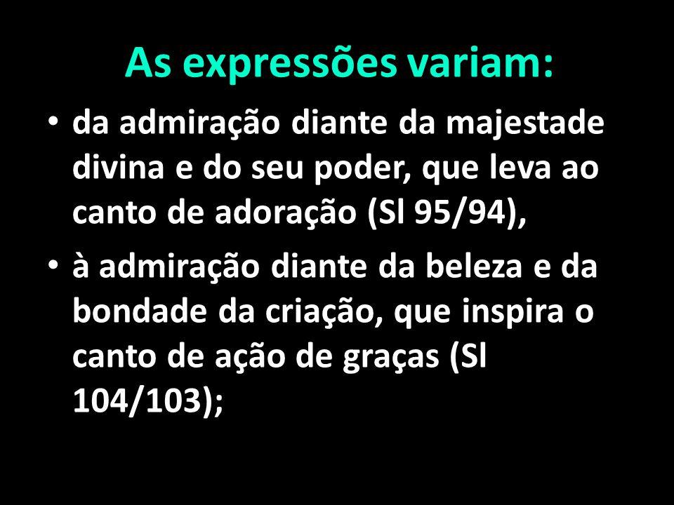 As expressões variam: da admiração diante da majestade divina e do seu poder, que leva ao canto de adoração (Sl 95/94),
