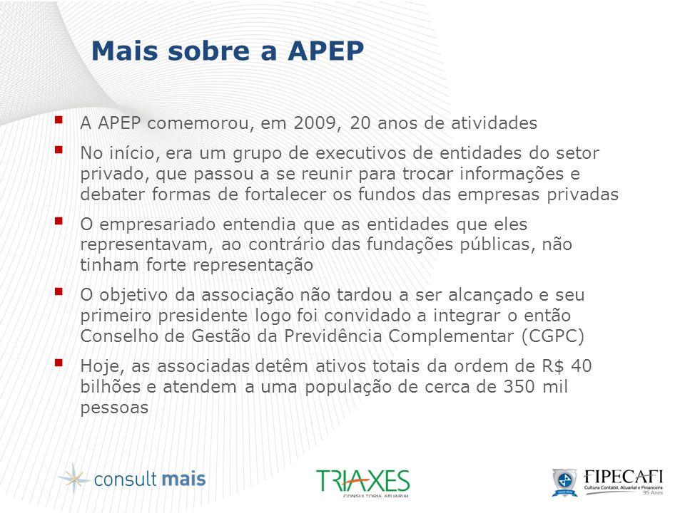 Mais sobre a APEP A APEP comemorou, em 2009, 20 anos de atividades