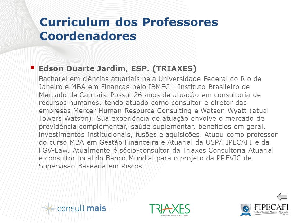 Curriculum dos Professores Coordenadores
