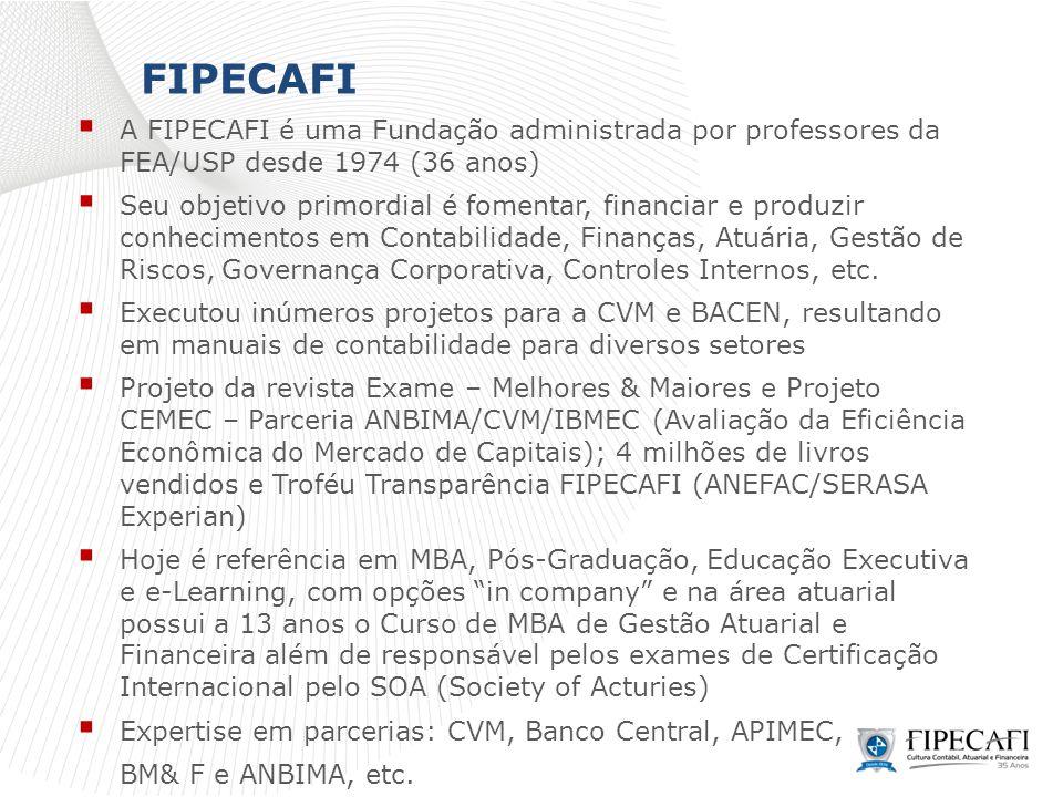 FIPECAFI A FIPECAFI é uma Fundação administrada por professores da FEA/USP desde 1974 (36 anos)