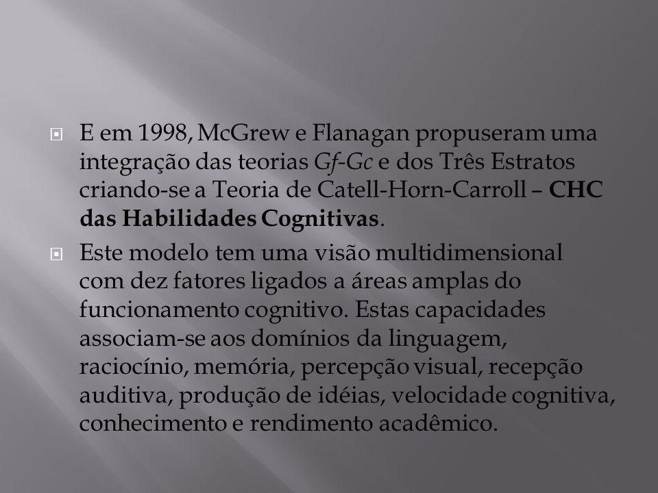 E em 1998, McGrew e Flanagan propuseram uma integração das teorias Gf-Gc e dos Três Estratos criando-se a Teoria de Catell-Horn-Carroll – CHC das Habilidades Cognitivas.