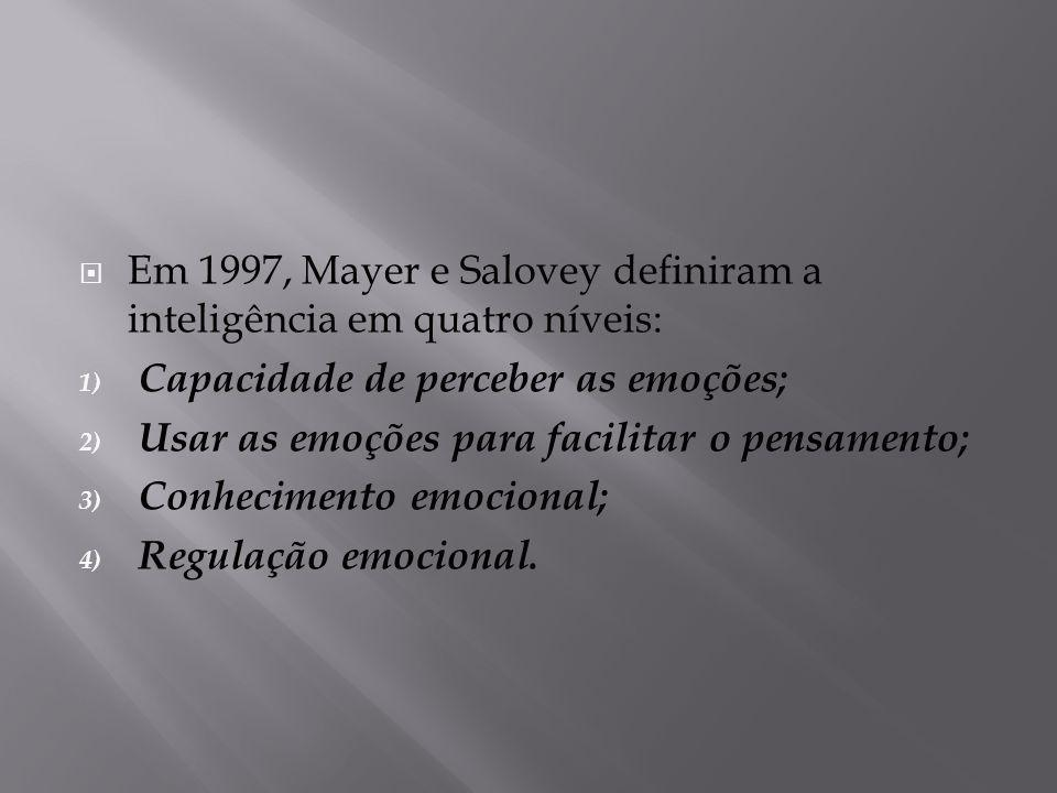 Em 1997, Mayer e Salovey definiram a inteligência em quatro níveis: