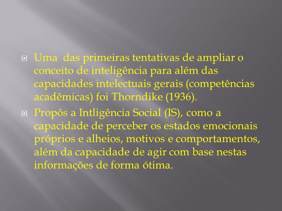 Uma das primeiras tentativas de ampliar o conceito de inteligência para além das capacidades intelectuais gerais (competências acadêmicas) foi Thorndike (1936).