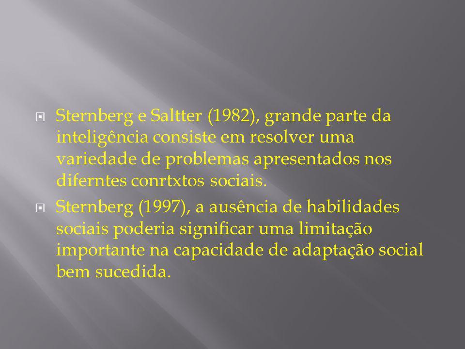 Sternberg e Saltter (1982), grande parte da inteligência consiste em resolver uma variedade de problemas apresentados nos diferntes conrtxtos sociais.