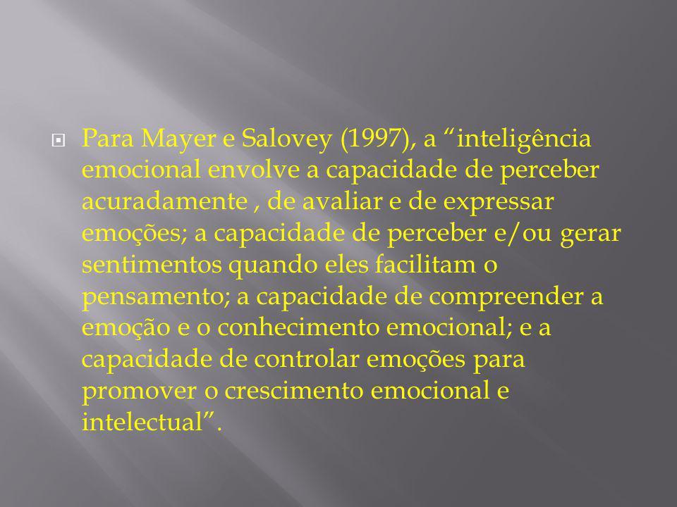 Para Mayer e Salovey (1997), a inteligência emocional envolve a capacidade de perceber acuradamente , de avaliar e de expressar emoções; a capacidade de perceber e/ou gerar sentimentos quando eles facilitam o pensamento; a capacidade de compreender a emoção e o conhecimento emocional; e a capacidade de controlar emoções para promover o crescimento emocional e intelectual .