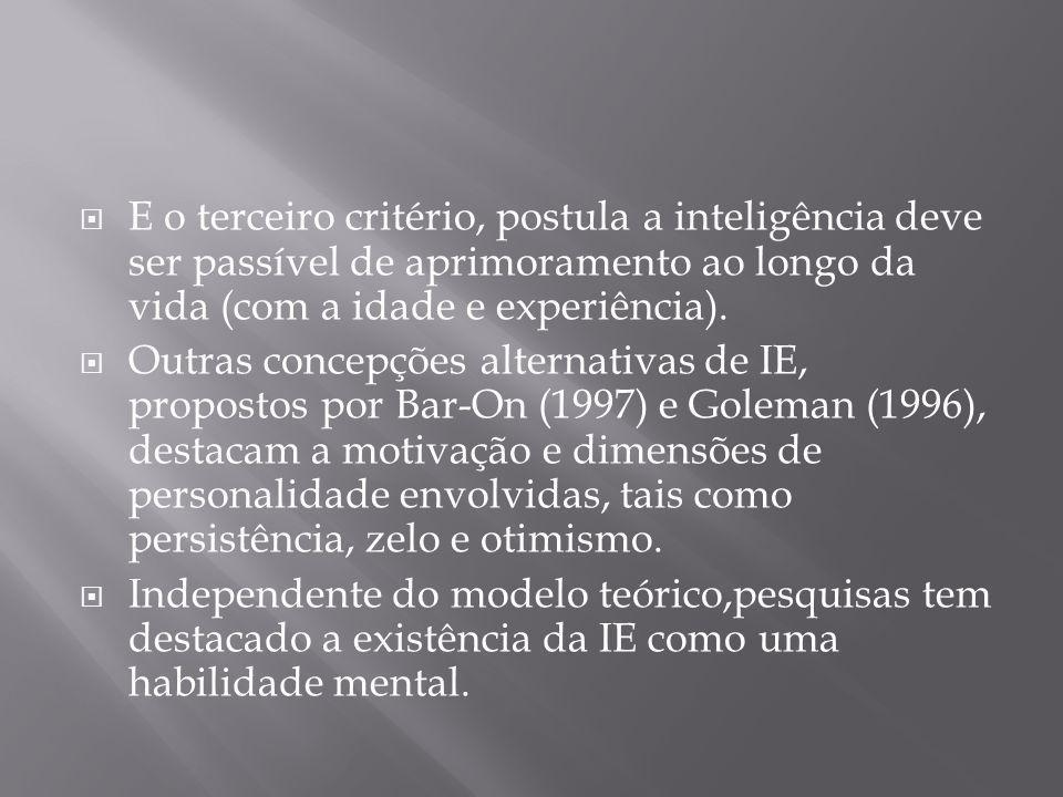 E o terceiro critério, postula a inteligência deve ser passível de aprimoramento ao longo da vida (com a idade e experiência).
