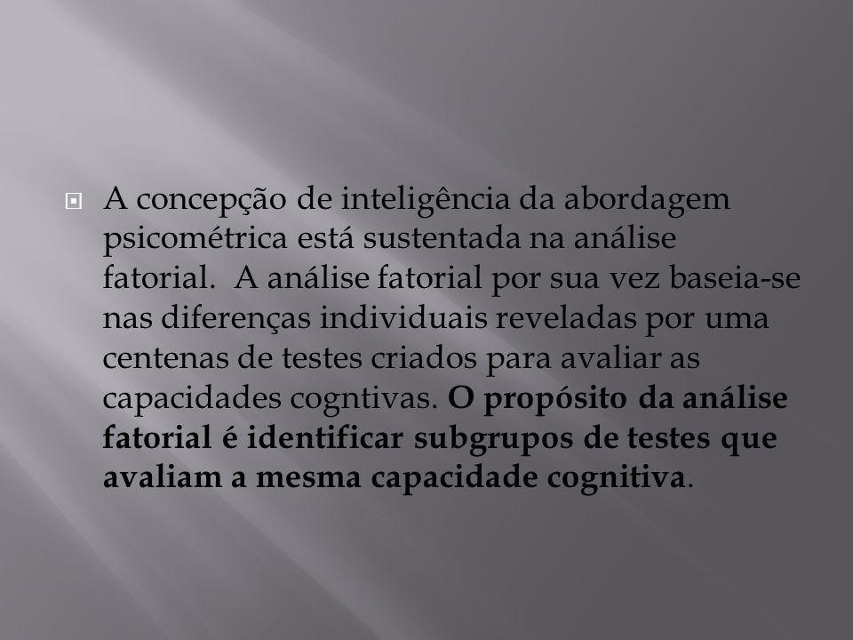 A concepção de inteligência da abordagem psicométrica está sustentada na análise fatorial.