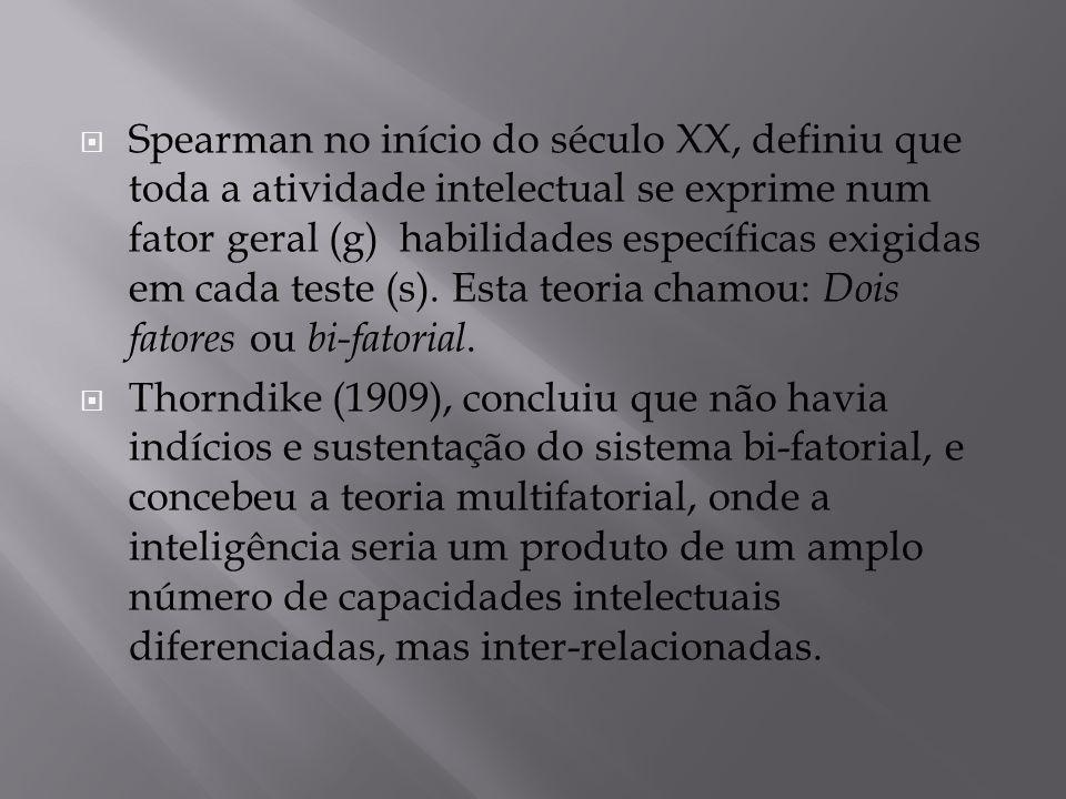 Spearman no início do século XX, definiu que toda a atividade intelectual se exprime num fator geral (g) habilidades específicas exigidas em cada teste (s). Esta teoria chamou: Dois fatores ou bi-fatorial.