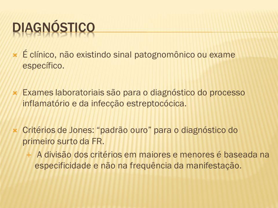 Diagnóstico É clínico, não existindo sinal patognomônico ou exame específico.