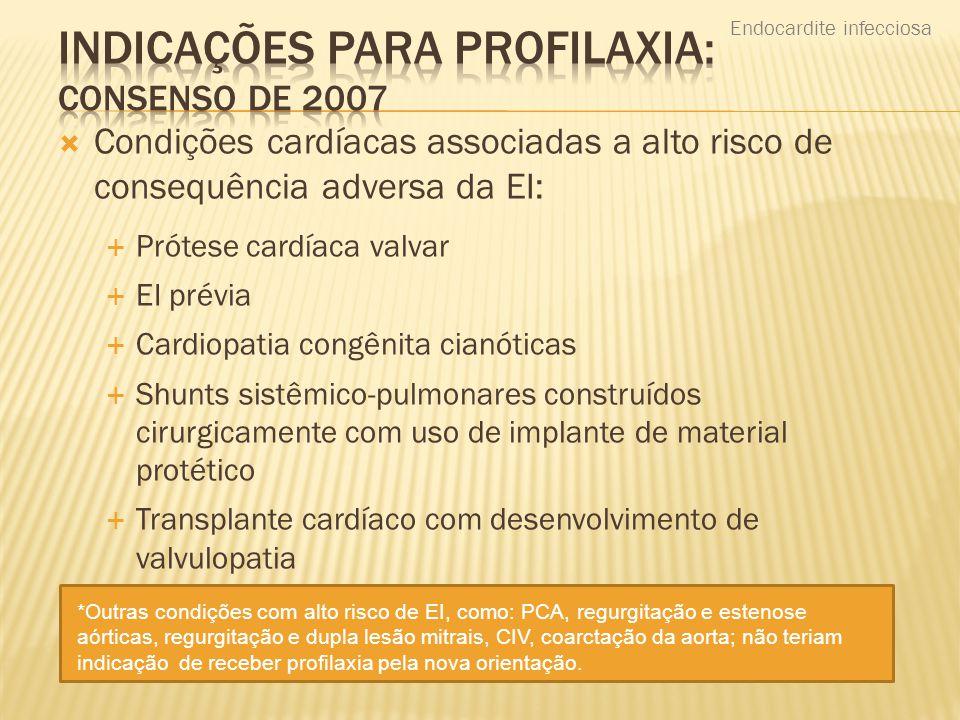 Indicações para profilaxia: Consenso de 2007
