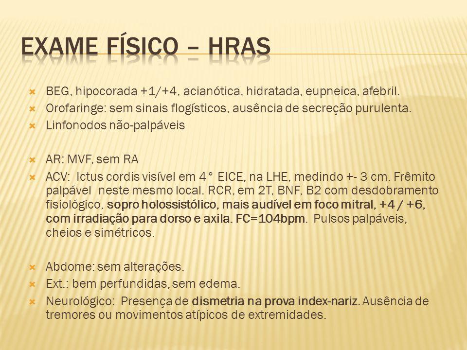 Exame Físico – HRAS BEG, hipocorada +1/+4, acianótica, hidratada, eupneica, afebril.