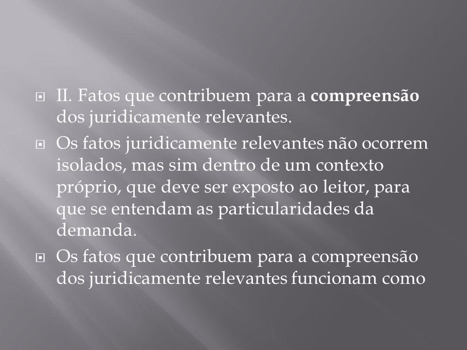 II. Fatos que contribuem para a compreensão dos juridicamente relevantes.