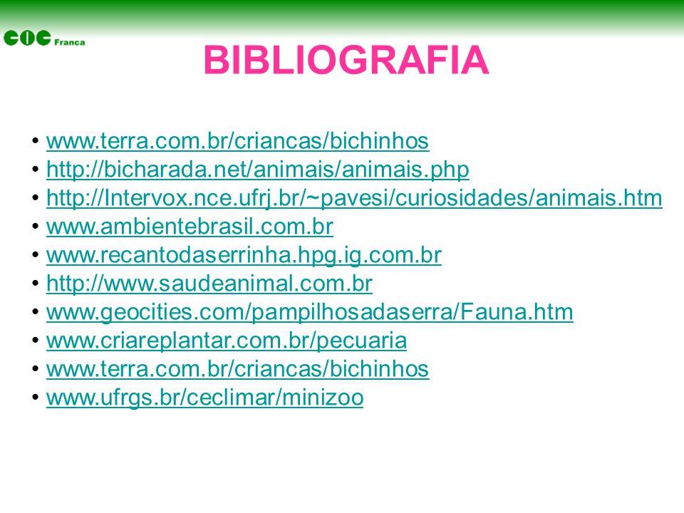 BIBLIOGRAFIA www.terra.com.br/criancas/bichinhos