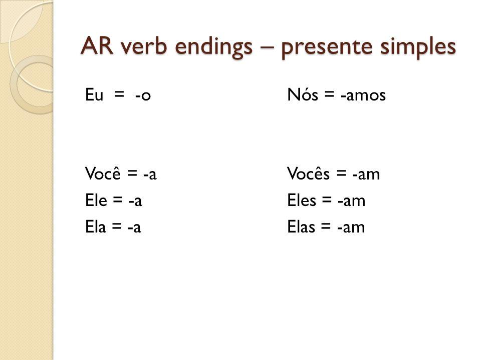 AR verb endings – presente simples