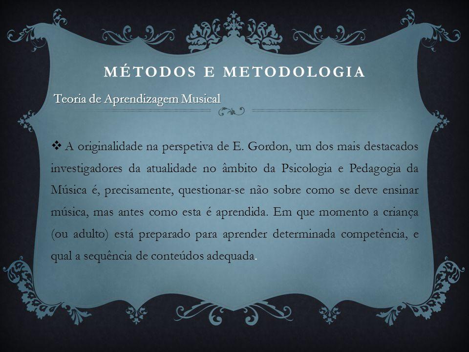 MÉTODOS E METODOLOGIA Teoria de Aprendizagem Musical.
