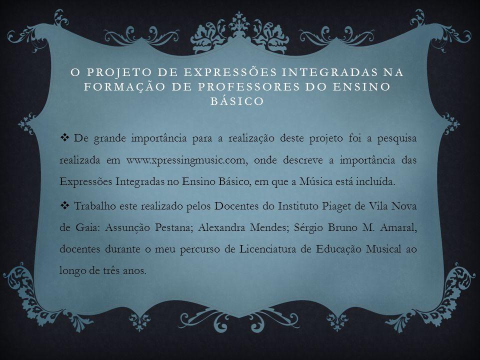 O Projeto DE EXPRESSÕES INTEGRADAS NA FORMAÇÃO DE PROFESSORES DO ENSINO BÁSICO