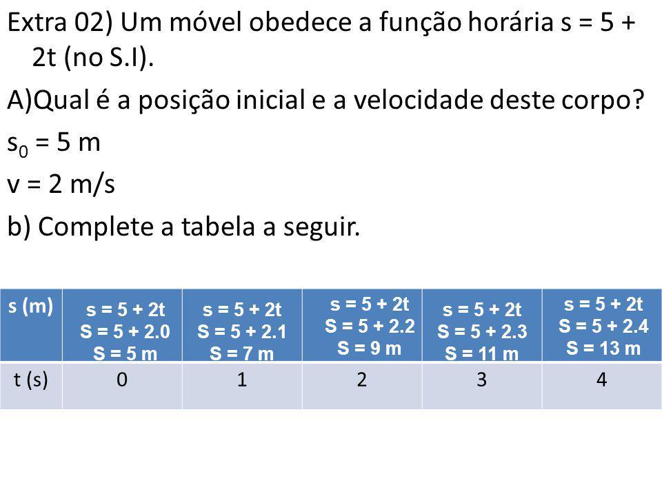 Extra 02) Um móvel obedece a função horária s = 5 + 2t (no S.I).