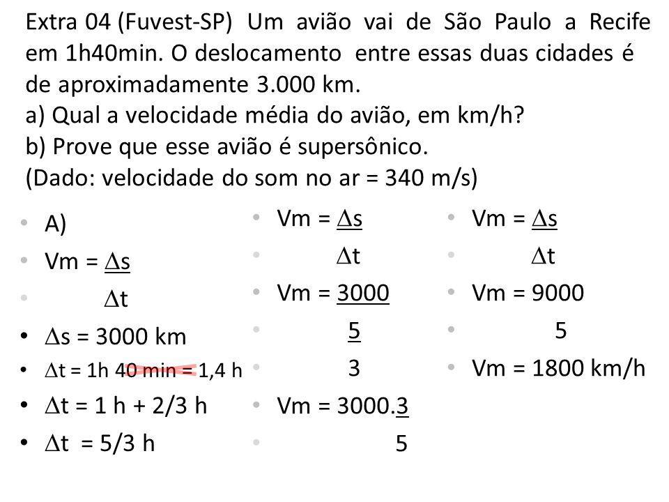 Extra 04 (Fuvest-SP) Um avião vai de São Paulo a Recife em 1h40min