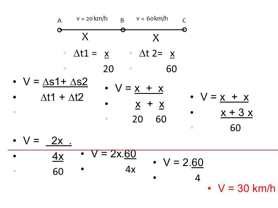 t1 = x 20. t 2= x. 60. V = s1+ s2. t1 + t2. V = x + x. x + x. 20 60. V = x + x.