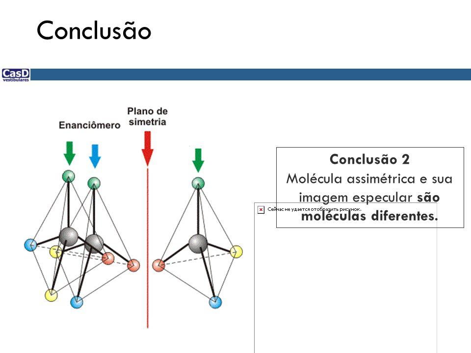 Molécula assimétrica e sua imagem especular são moléculas diferentes.