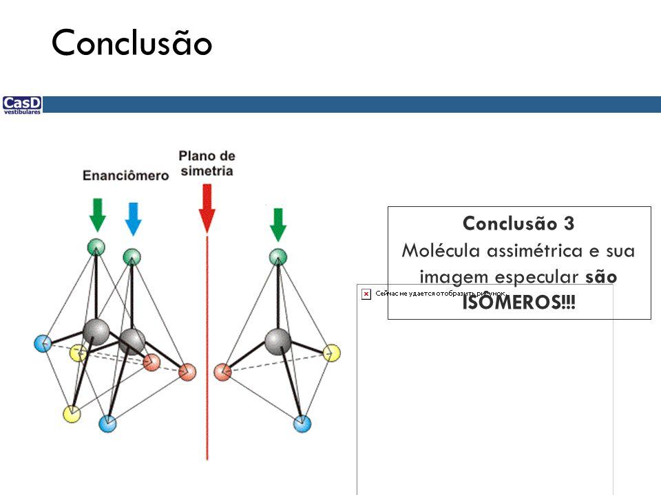Molécula assimétrica e sua imagem especular são ISÔMEROS!!!