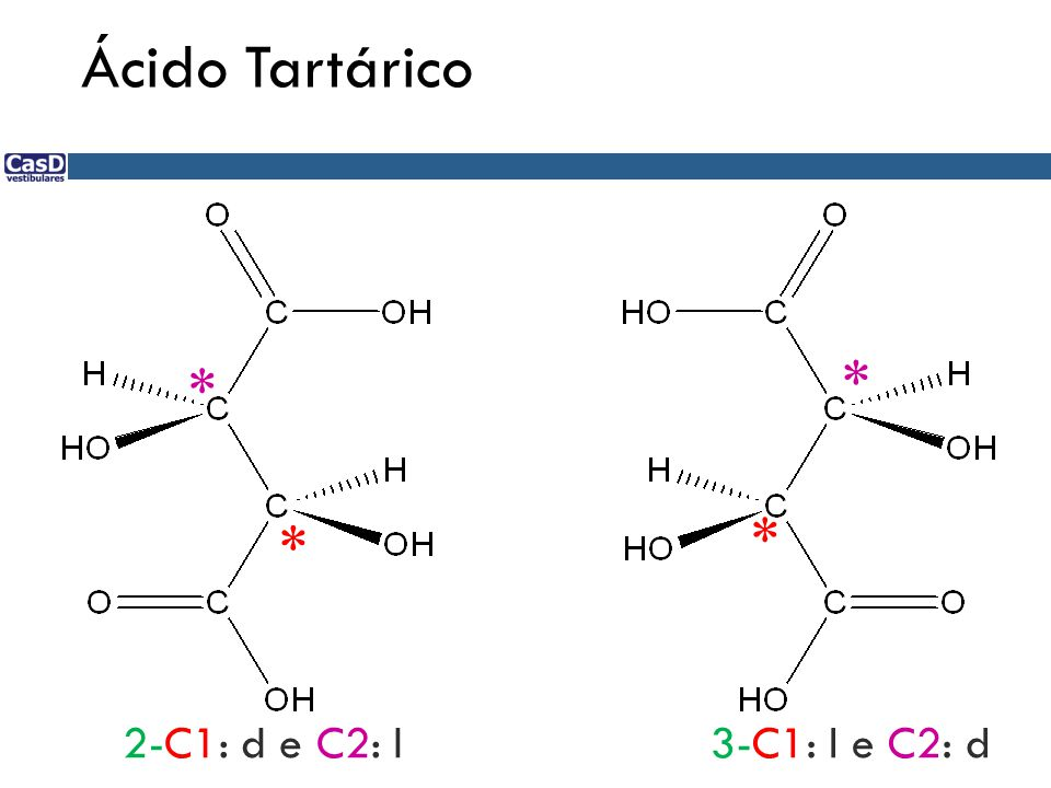 Ácido Tartárico * * 70 + Sebrae * * 2-C1: d e C2: l 3-C1: l e C2: d