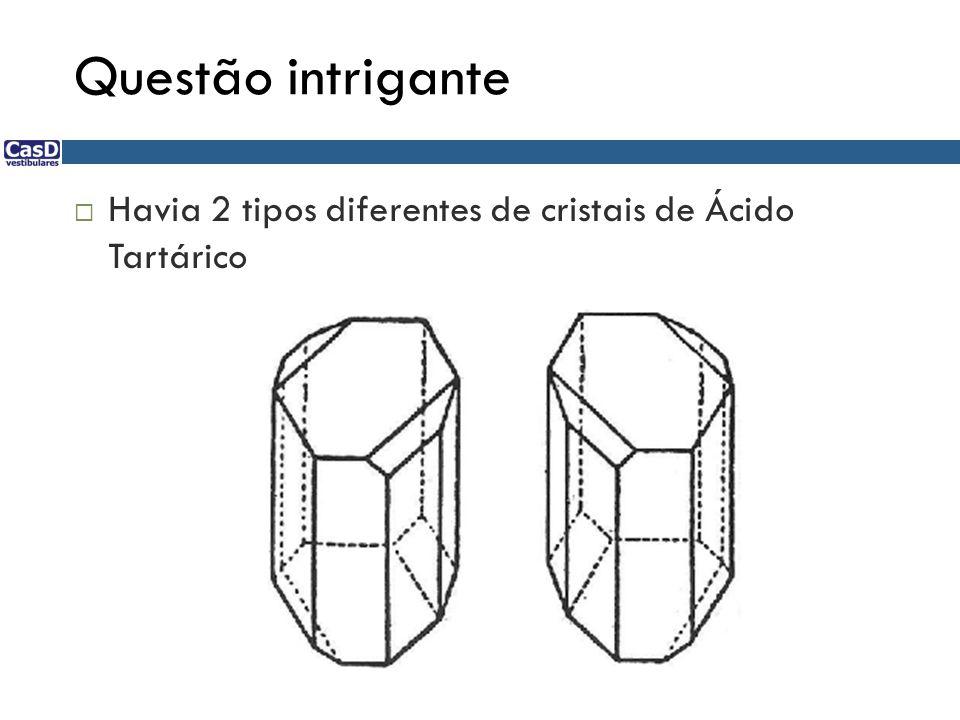 Questão intrigante Havia 2 tipos diferentes de cristais de Ácido Tartárico 70