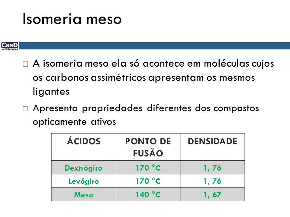 Isomeria meso A isomeria meso ela só acontece em moléculas cujos os carbonos assimétricos apresentam os mesmos ligantes.