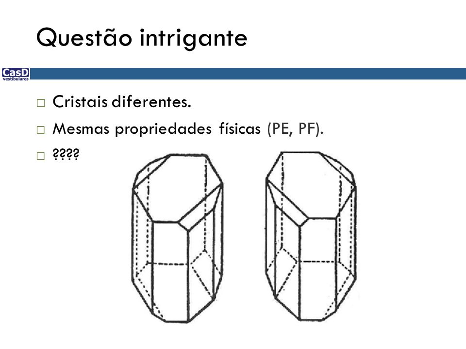 Questão intrigante Cristais diferentes.