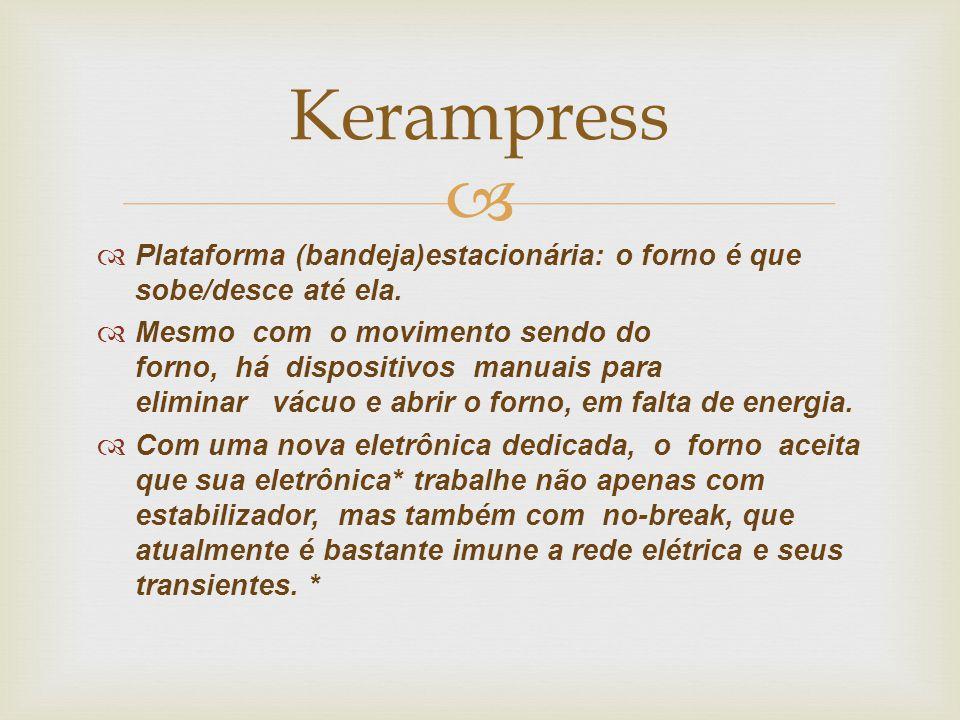 Kerampress Plataforma (bandeja)estacionária: o forno é que sobe/desce até ela.