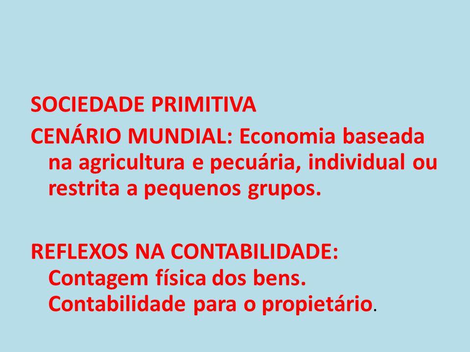 SOCIEDADE PRIMITIVA CENÁRIO MUNDIAL: Economia baseada na agricultura e pecuária, individual ou restrita a pequenos grupos.