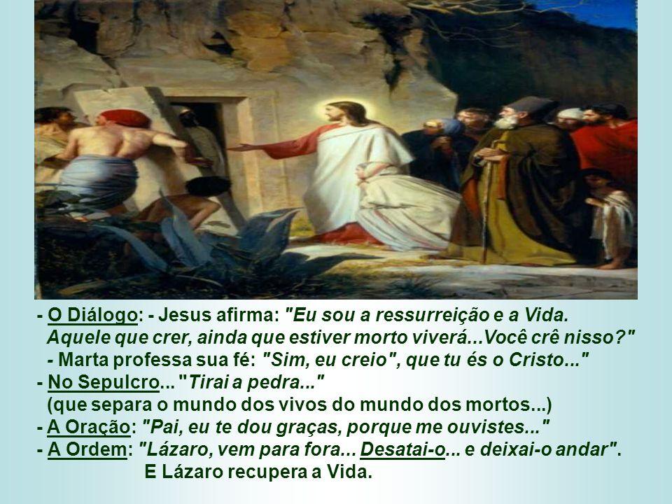 - O Diálogo: - Jesus afirma: Eu sou a ressurreição e a Vida.