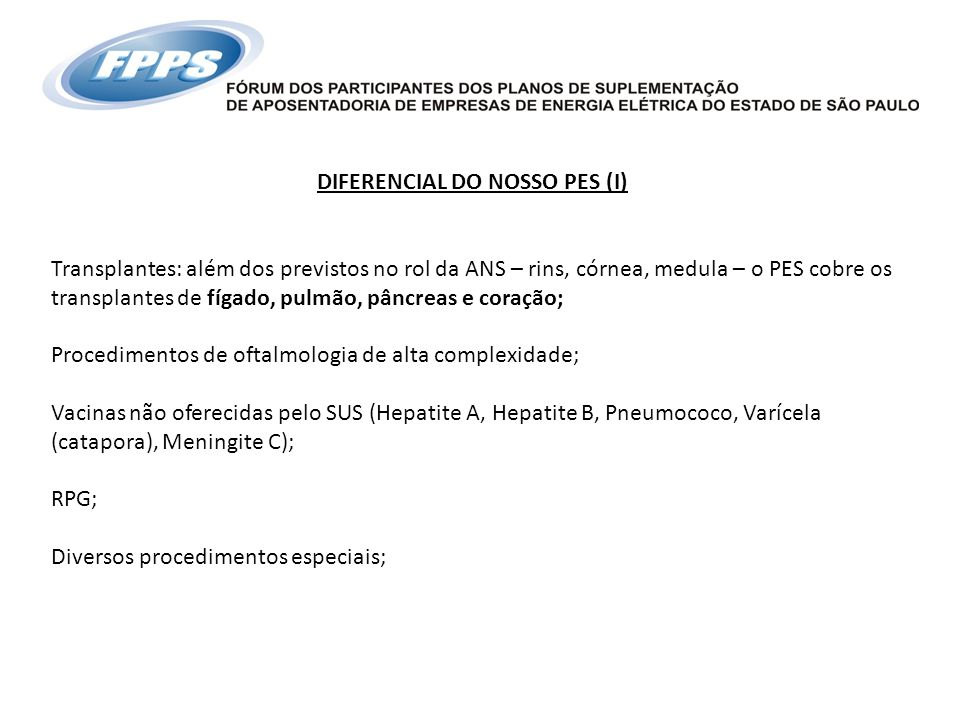 DIFERENCIAL DO NOSSO PES (I)