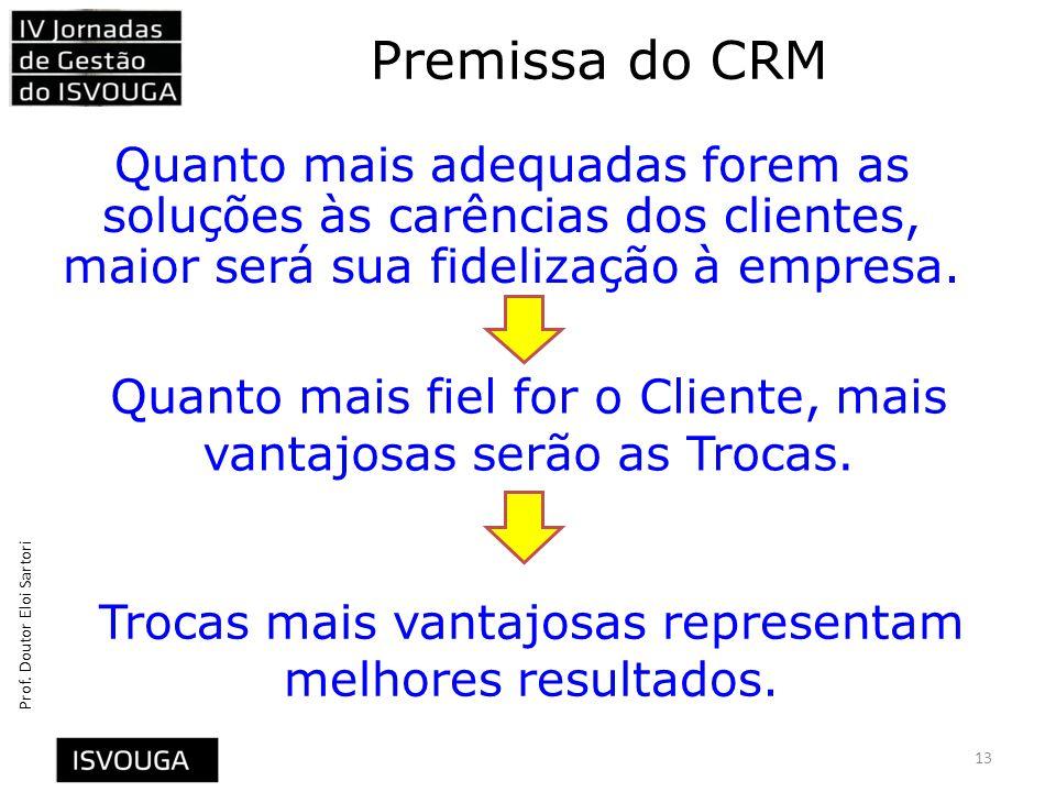 Premissa do CRM Quanto mais adequadas forem as soluções às carências dos clientes, maior será sua fidelização à empresa.