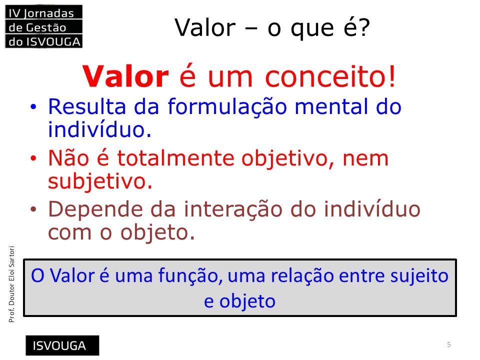 O Valor é uma função, uma relação entre sujeito e objeto