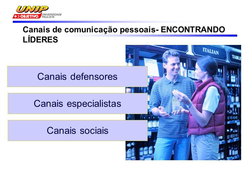 Canais defensores Canais especialistas Canais sociais