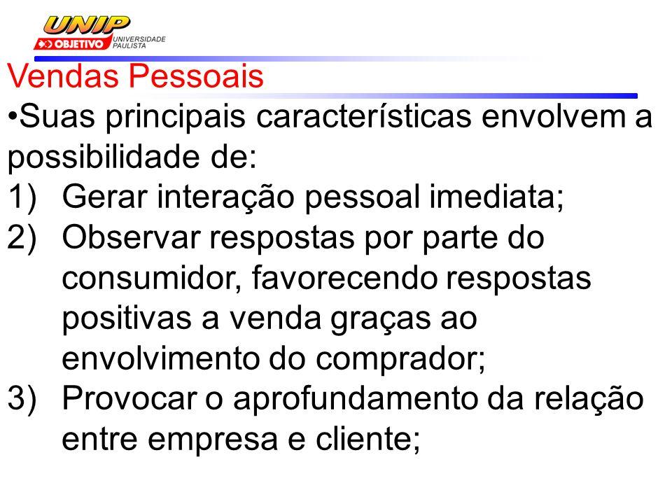 Vendas Pessoais Suas principais características envolvem a possibilidade de: Gerar interação pessoal imediata;