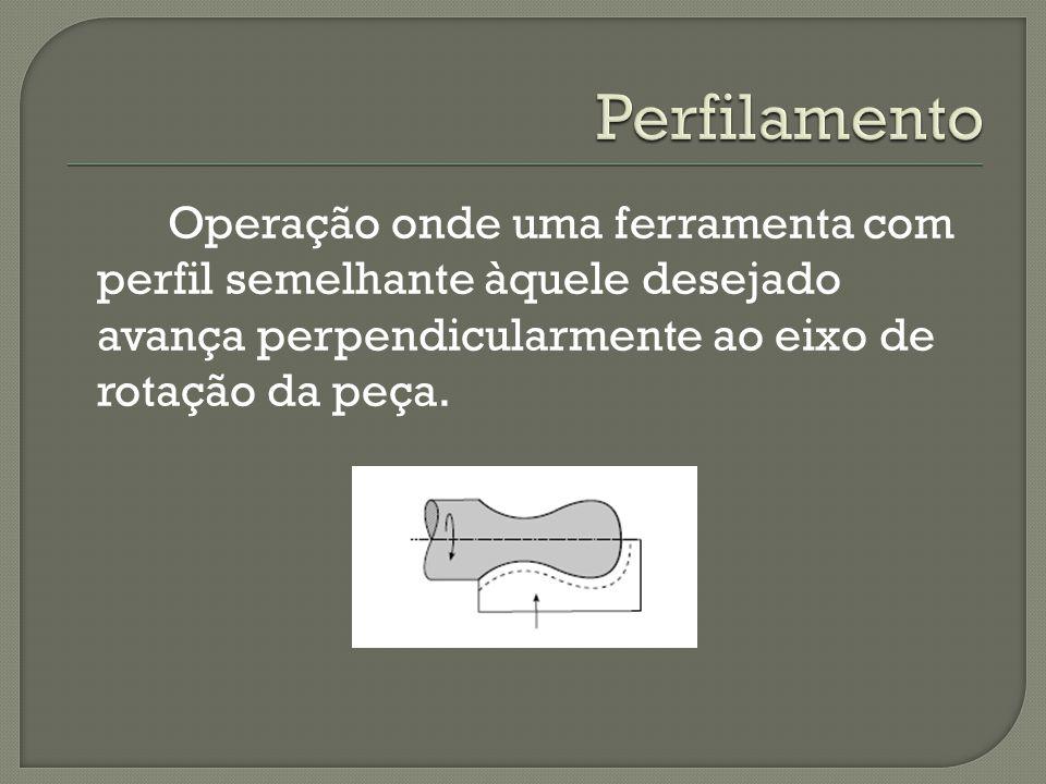 Perfilamento Operação onde uma ferramenta com perfil semelhante àquele desejado avança perpendicularmente ao eixo de rotação da peça.